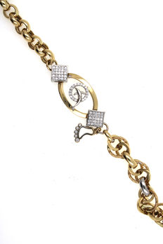 Tri-colour strap made of 14 kt yellow gold with zirconia - 19cm