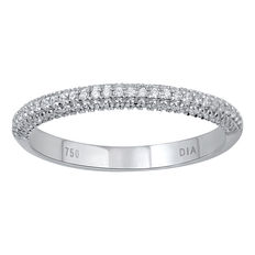 Brand new 18kt micro set white gold wedding band with round brilliant diamonds, 0.30ct total diamond weight. G colour and SI clarity. Size 54/N