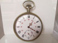 Pocket watch. Silver-coloured metal Lepine. Remontoire. 1st half of the 20th century.