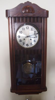 Back gauge with gong in oak wood cabinet - early 20th century