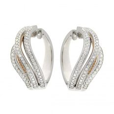 "Chimento - ""Anima"" earrings white/rose gold with diamonds - Diameter of creoles 22.15 mm measured on the outside."