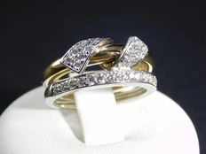White and yellow gold ring with diamonds totalling 0.72 ct – Size: 14 (IT) / 54 (EU) / 6.75 (USA) / N 1/2 (UK) – Free resizing.