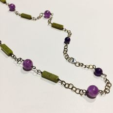 Silver necklace 925 mm with Jade and Amethyst