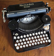 Excellent Mercedes Prima Typewriter with suitcase, Germany, 1935