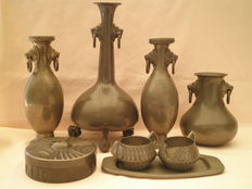Lot with various pewter items, all hallmarked, The Netherlands, France and Norway, 1st half of the 20th century