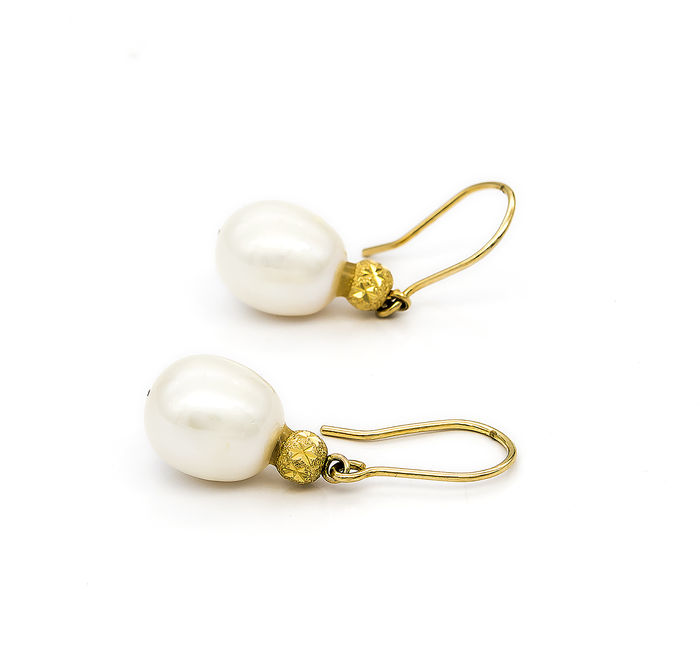 pearls pear size shape pearl shaped grams vintage ring flower product yellow gold