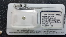Loose Round brilliant cut diamond of 0.29ct K I1 - Sealed IGL - No Reserve