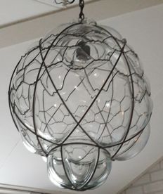 Very large Venetian lamp in special metal frame, 2nd half 20th century, Italy