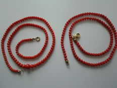 2 x coral necklace natural coral