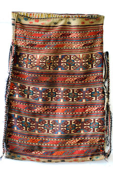Rare nomad bag, combination of soumac, kilim and embroidery.