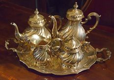 Barocchetto style, Silver 800, Elegant tea set from Italy, early 1900