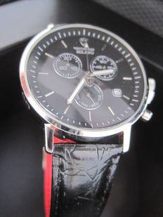 Detomaso - Milano Mens Watch Chronograph Stainless Steel Black Dial Leather Strap New