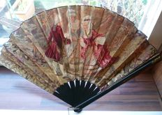 Embroidered fan with brass trim and 2 vintage powder boxes