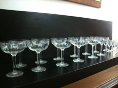 Set Antique Etched Crystal Champagne and Liquor