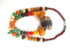 Necklace - chevron, amber and trade beads
