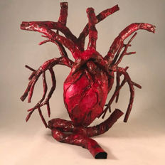 Anatomical model of the human heart and blood vessels, very high quality. A unique hand-made piece!