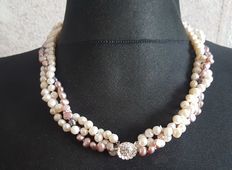 3 strand natural cultured freswater pearl necklace 925 silver clasp, lengh 50cm