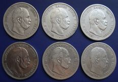German Empire, Prussia - 5 Mark 1874-1876, 6 coins - silver