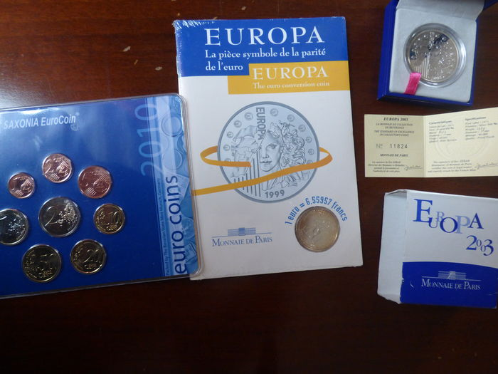 France and Germany - 2 silver coins and 2 course coin sets