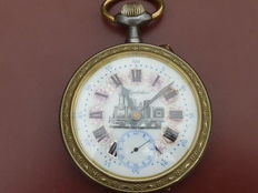 Railway pocket watch with anchor escapement movement from around 1910.
