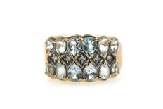 Solid 585 gold women's ring with aquamarine droplets and diamonds