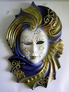 Beautiful hand-decorated ceramic Venetian mask