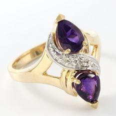14kt Yellow Gold Ring  0.02 ct  Diamond and 3.15 ct Amethyst    Size: 6 - L-1/2