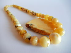 Necklace in marbled yellow colour, natural  untreated Baltic Amber, 36 grams