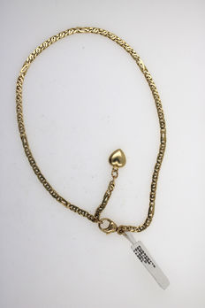 14 kt yellow gold anklet with heart pendant - 27 cm
