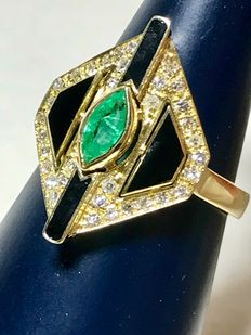 Ring with navette cut emerald with black enamel and diamonds