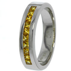 14 kt white gold women's ring Le Chis with yellow sapphire - ring size 17.5