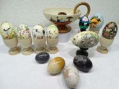 Ostrich egg candle holder - 12 eggs and 6 hand-turned wooden egg cups