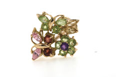 14kt gold multi-colour ring - ring size approx. 49