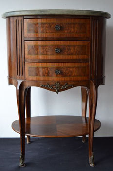 Walnut wood dresser with marble top and bronze detail - c.a 1940 - Portugal
