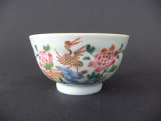 Rare Famille rose molded tea bowl with crane bird decorations - China - 18th century