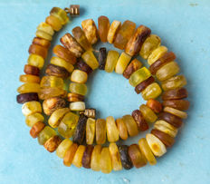 Antique Baltic Amber necklace old honey butterscotch egg yolk color, vintage, 66 gram