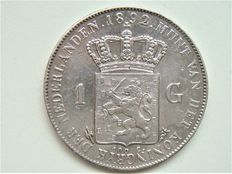 The Netherlands – 1 guilder 1892 Wilhelmina – Silver