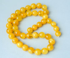 Natural Baltic amber rosary 100% natural butterscotch, honey amber Arabic style, 38 gr.
