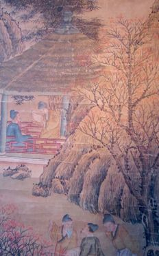 Scroll painting depicting characters on a landscape background – China – Early 20th century