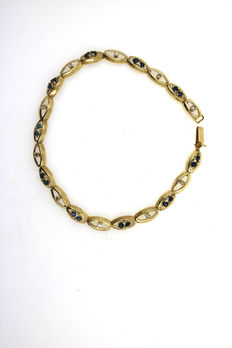 Bracelet made of 14 kt yellow gold, 20 sapphires and 10 diamonds - 18 cm