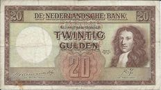 Netherlands - 20 guilders 1945 Governor William III - mevius 59-1