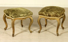 Pair of late-baroque style stools - Italy - early 900