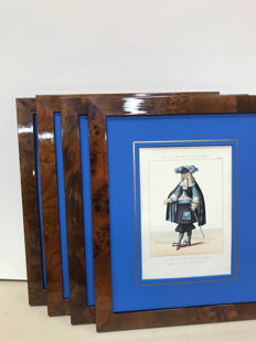 Five Hand colored Lithographs with glazed Burr Wood Frames