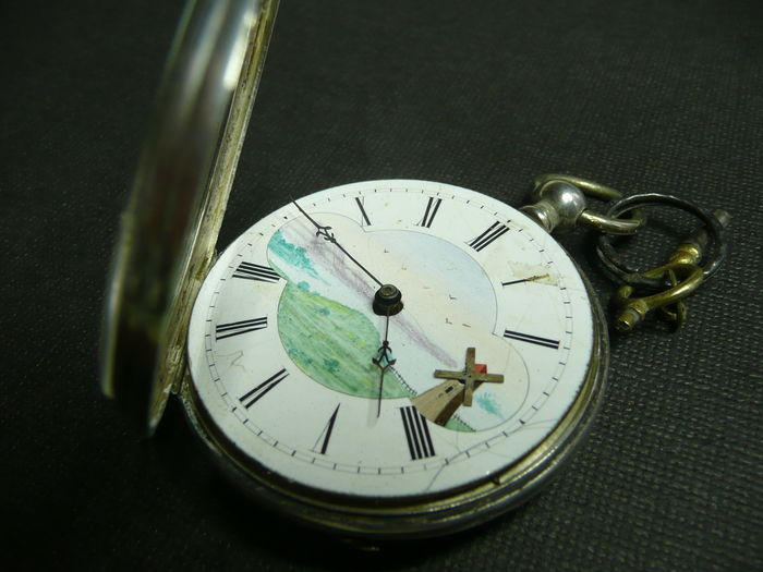 Pocket watch with mill as seconds hand with key, Swiss made, approx. 1880
