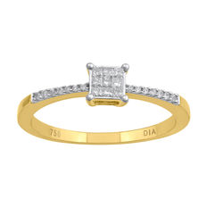 18kt yellow gold brand new engagement ring set with princess cut diamonds head in an invisibility setting and with round diamonds on shoulder, total weight of diamonds  0.15ct , G colour and SI clarity. Size 54/N (free resizing in Antwerp)