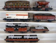 Märklin H0 - 4504/-15/4604/-08/-10/-13/-21 - seven classic freight carriages of the DB, a.o. coal, wood and car load