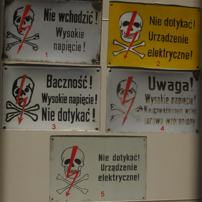 "5 x Polish Enameled  electricity warning signs ""Raw-Head"""