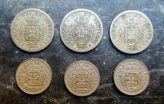 Portugal – D. Carlos I – 6 x 50 and 100 Reis coins – 1900 – Lisbon
