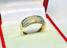 18K yellow gold ring 2,6g set with diamonds- size 48 / 15,3