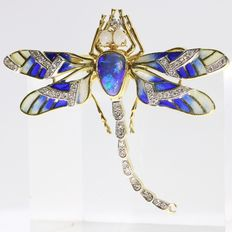 Fairylike plique à jour enamel and gold dragonfly brooch finished with opals and diamonds